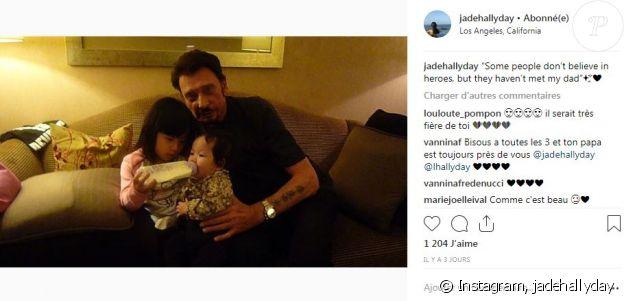 Jade Hallyday se souvient tendrement de son papa Johnny Hallyday sur Instagram le 6 octobre 2018, avant de partir pour Paris.
