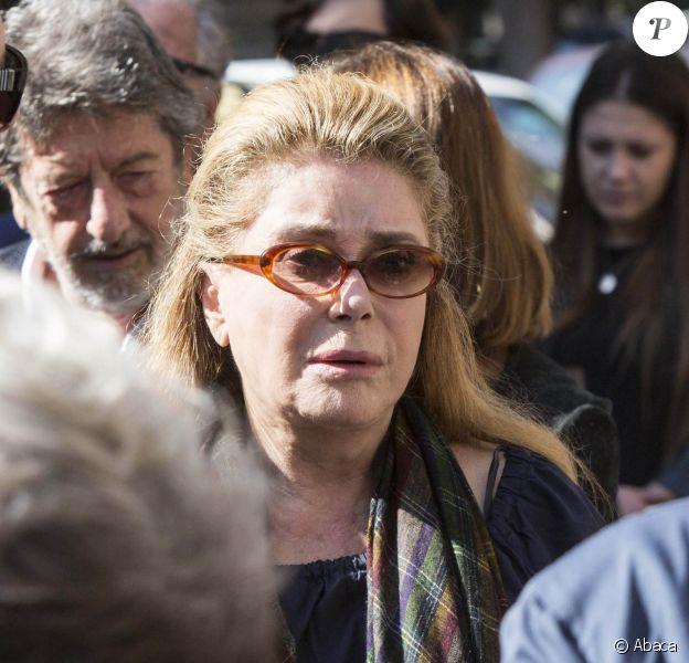 Catherine Deneuve aux obsèques de Barbara Mastroianni, la fille de Marcello Mastroianni, à Rome, le 13 octobre 2018.