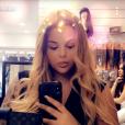 Sarah Fraisou présente sa nouvelle chevelure sur Snapchat, mai 2018.