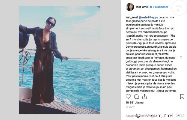 Amel Bent évoque son poids avec un admiratrice sur Instagram, le 17 août 2018.