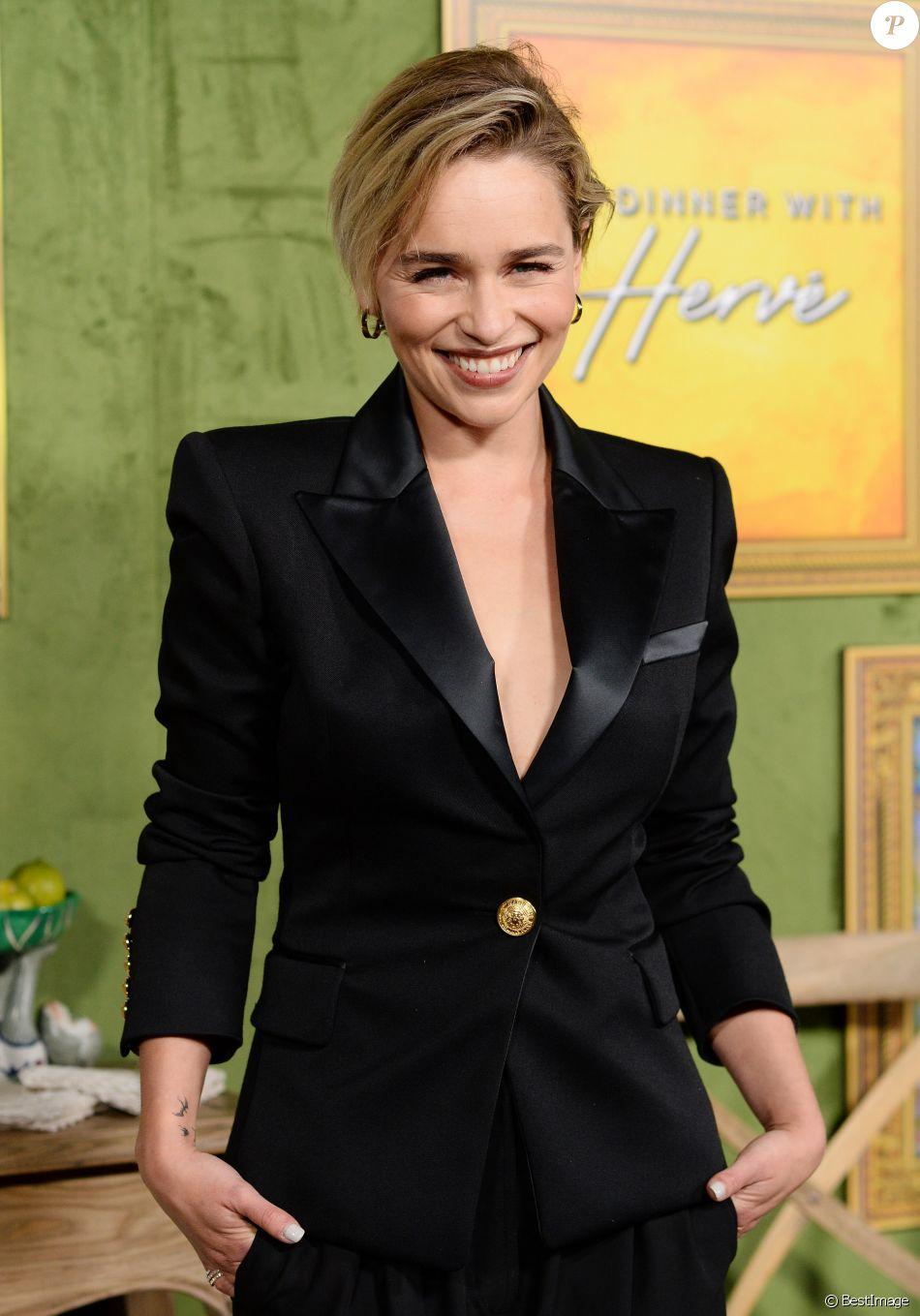 """Emilia Clarke à la première de """"My Dinner With Herve"""" à Los Angeles, le 4 octobre 2018."""