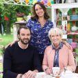 """Julia Vignali, Cyril Lignac et Mercotte prêts pour la nouvelle saison du """"Meilleur Pâtissier"""" (M6)."""