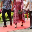 Le prince Harry, duc de Sussex et sa femme Meghan Markle, duchesse de Sussex (enceinte) visitent le campus de l'Université du Pacifique Sud à Suva lors de leur voyage officiel aux îles Fidji, le 24 octobre 2018.