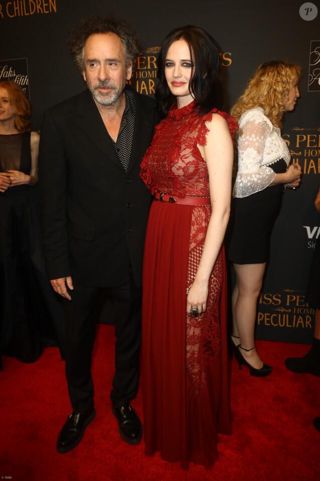 """Tim Burton et Eva Green à la première de """"Miss Peregrine et les enfants particuliers"""" à New York, le 26 septembre 2016."""