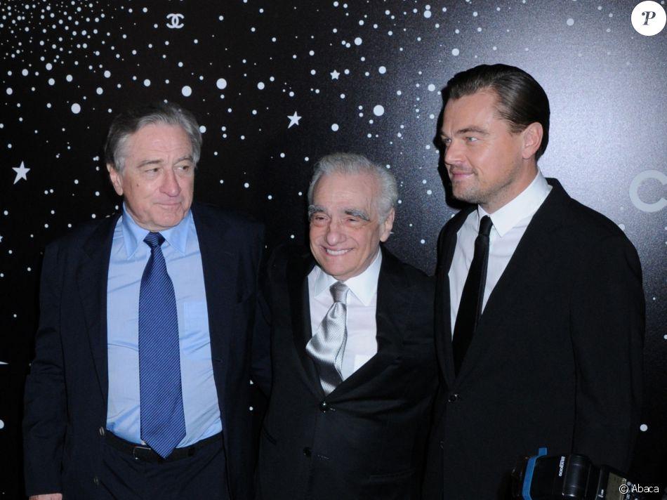 Robert De Niro, Martin Scorsese et Leonardo DiCaprio lors de la soirée Museum of Modern Art Film benefit presented by Chanel: A Tribute to Martin Scorsese, à New York, le 19 novembre 2018.