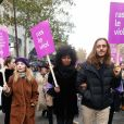 Inna Modja et son compagnon Marco Conti Sikic lors de la manifestation organisée contre les violences faites aux femmes dans le quartier de l'Opéra à Paris, le 24 novembre 2018. © CVS/Bestimage