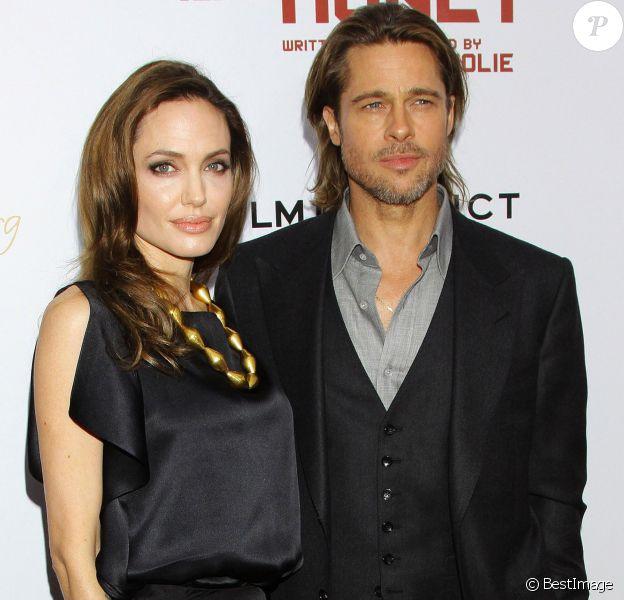 """Angelina Jolie et Brad Pitt à la première du film """"Au pays du sang et du miel"""" à New York le 5 novembre 2011"""