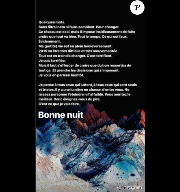 L'intriguant message d'Agathe Auproux, posté le 22 décembre sur Instagram.