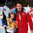Ingrid Chauvin et son fils Tom en vacances au ski à Serre Chevalier, le 29 décembre 2018.