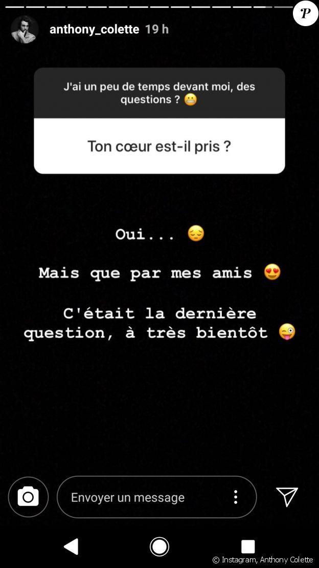 Anthony Colette répond aux questions sur sa vie amoureuse, Instagram, 5 janvier 2019
