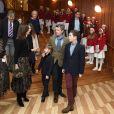 Le prince Frederik et la princesse Mary de Danemark avec leurs enfants, le prince Christian, le prince Vincent, la princesse Isabella, la princesse Josephine, lors du concert de Noël de l'Académie danoise de musique à Copenhague le 8 décembre 2018.