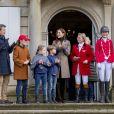 Le prince Frederik, la princesse Mary, leurs enfants le prince Christian, la princesse Isabella, le prince Vincent et la princesse Josephine de Danemark lors de la chasse Hubertus le 4 novembre 2018.