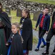 Le prince Frederik et la princesse Mary de Danemark avec leurs enfants Christian, Isabella, Vincent et Josephine en visite aux îles Féroé en août 2018.