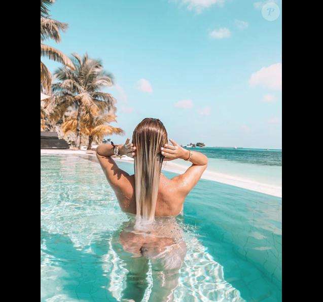 Jessica Thivenin aux Maldives le 8 janvier 2019.