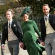 Pippa Middleton, enceinte, son mari James Matthews, son frère James Middleton - Arrivées des invités au mariage de la princesse Eugenie d'York et de Jack Brooksbnak à la chapelle Saint George de Windsor le 12 octobre 2018.