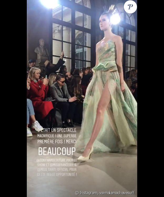 Miss France 2019 partage son premier défilé de Fashion Week sur Instagram, le 21 janvier 2019.
