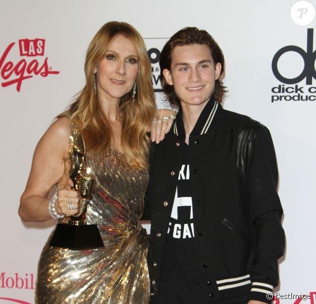 Céline Dion et son fils René Charles Angélil au press room de la soirée Billboard Music Awards à T-Mobile Arena à Las Vegas, le 22 mai 2016