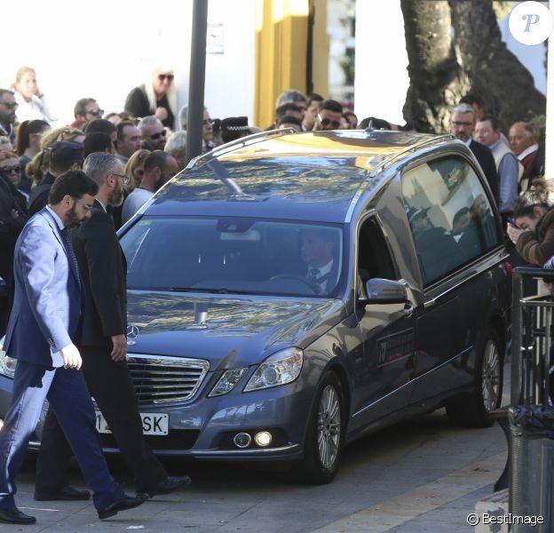 Image des obsèques du petit Julen Rosello, 2 ans, le 27 janvier 2019 à Malaga. Tombé dans un puits le 13 janvier 2019 à Totalan dans le sud de l'Espagne, l'enfant avait été retrouvé mort après 13 jours de recherches acharnées.