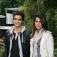 Karine Ferri et son cousin à Roland Garros hier