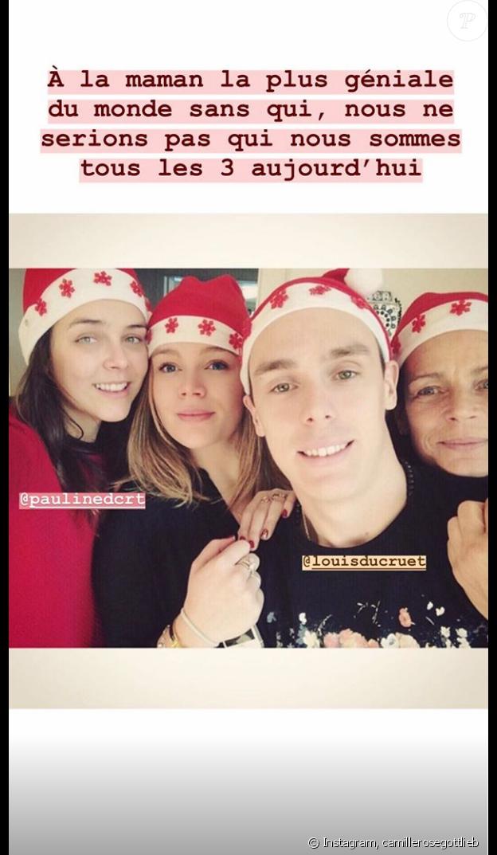 Camille Gottlieb souhaite un joyeux anniversaire à sa mère Stéphanie de Monaco sur Instagram, le 1er février 2019.