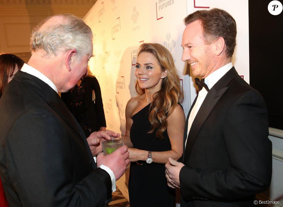Geri Halliwell et son mari Christian Horner discutent avec le prince Charles, à la réception du Prince's Trust 'Invest in Futures' à l'hôtel Savoy, à Londres, le 7 février 2019.
