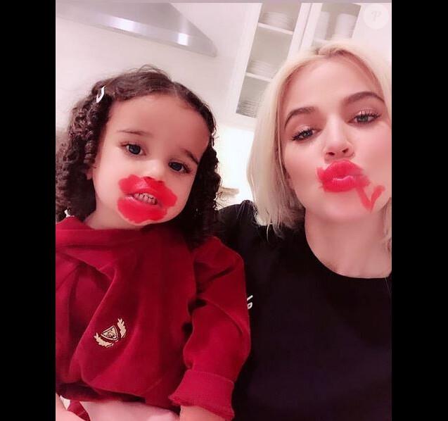 Khloé Kardashian et sa nièce Dream, la fille de Rob Kardashian et Blac Chyna. Février 2019.
