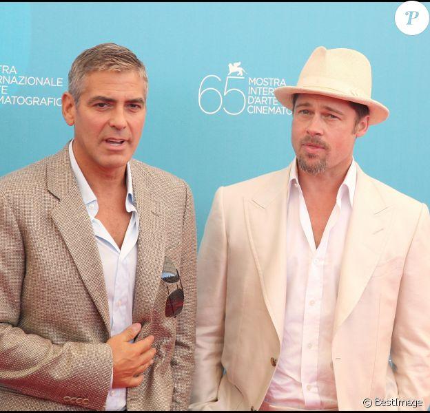 George Clooney et Brad Pitt à la Mostra de VEnise en 2008