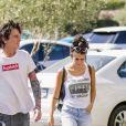 """Exclusif - Tommy Lee et sa femme Brittany Furlan sont allés faire des courses chez """"Bristol Farms"""" à Los Angeles, le 3 août 2018."""