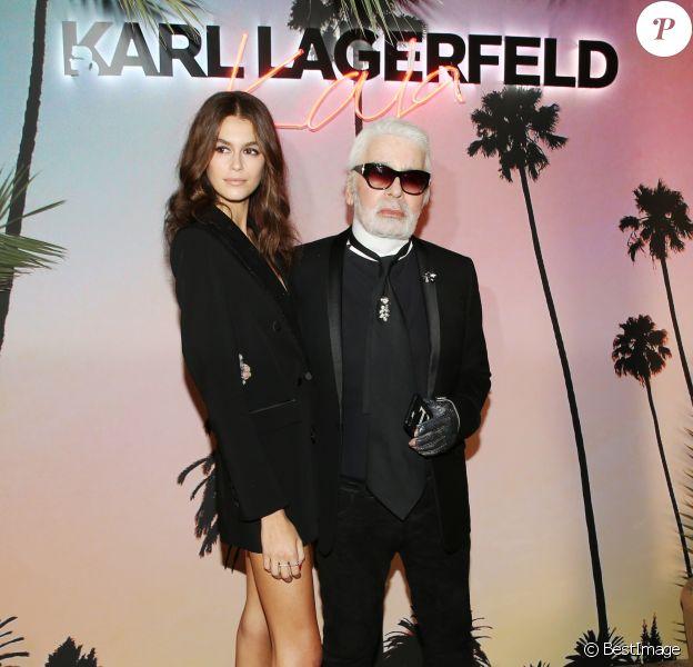 Kaia Gerber et Karl Lagerfeld - Cocktail de lancement de la collection capsule Karl Lagerfeld x Kaia de Kaia Gerber et Karl Lagerfeld à la boutique Karl Lagerfeld dans le 7e arrondissement. Paris, le 2 octobre 2018. © Denis Guignebourg/Bestimage