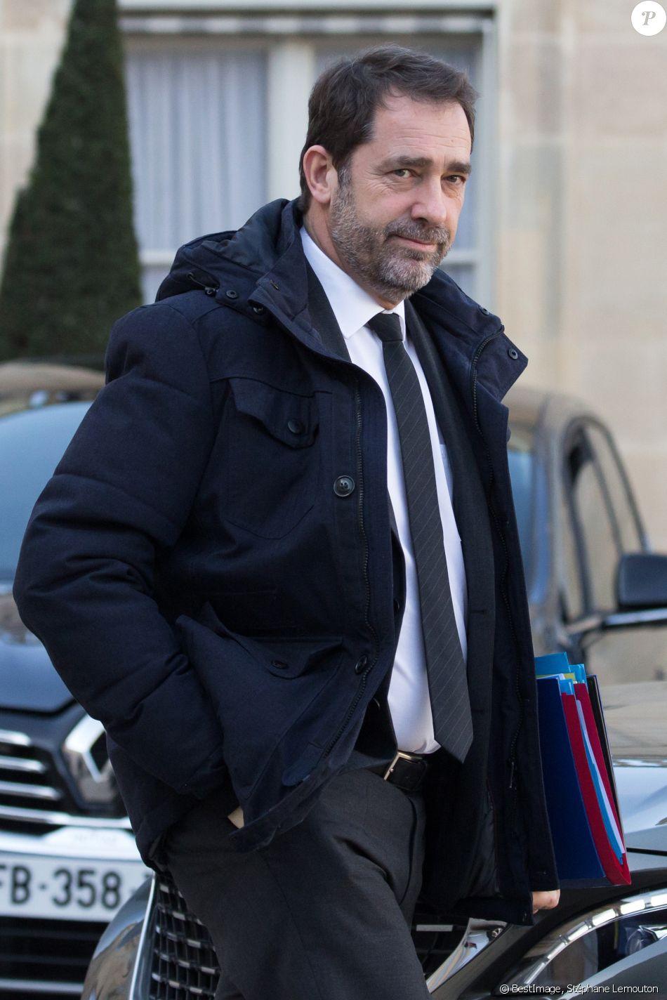 Christophe Castaner, ministre de l'intérieur à la sortie du conseil des ministres du 13 février 2019 au palais de l'Elysée à Paris le 13 février 2019. © Stéphane Lemouton / Bestimage