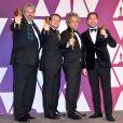 """Paul Lambert, Ian Hunter, Tristan Myles, J.D. Schwalm (Oscar des meilleurs effets visuels pour le film """"First Man : Le Premier Homme sur la Lune"""") - Pressroom de la 91ème cérémonie des Oscars 2019 au théâtre Dolby à Los Angeles, le 24 février 2019."""