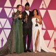 """Olivia Colman (Oscar de la meilleure actrice pour le film """"La Favorite""""), Mahershala Ali (Oscar du meilleur acteur dans un second rôle pour le film """"Green Book : Sur les routes du sud""""), Regina King (Oscar de la meilleure actrice dans un second rôle pour le film """"Si Beale Street pouvait parler"""") - Pressroom de la 91ème cérémonie des Oscars 2019 au théâtre Dolby à Los Angeles, le 24 février 2019."""