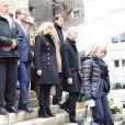 La première dame Brigitte Macron et Franck Riester, ministre de la Culture, lors des obsèques de Michel Legrand en la cathédrale orthodoxe Saint-Alexandre-Nevsky à Paris, le 1er février 2019.