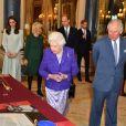 La reine Elisabeth II d'Angleterre et le prince Charles - La famille royale d'Angleterre lors de la réception pour les 50 ans de l'investiture du prince de Galles au palais Buckingham à Londres. Le 5 mars 2019