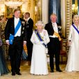 La reine Maxima des Pays-Bas, le roi Willem-Alexander des Pays-Bas, la reine Elisabeth II d'Angleterre, le prince Charles, prince de Galles, et Camilla Parker Bowles, duchesse de Cornouailles - Les souverains néerlandais assistent à un banquet d'Etat au palais de Buckingham de Londres, lors de leur visite d'État au Royaume-Uni, le 23 octobre 2018.