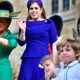 Sarah Ferguson et la princesse Beatrice d'York - Cérémonie de mariage de la princesse Eugenie d'York et Jack Brooksbank en la chapelle Saint-George au château de Windsor le 12 octobre 2018.