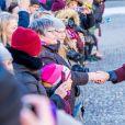La princesse Victoria de Suède, accompagnée par son mari le prince Daniel et leurs enfants la princesse Estelle et le prince Oscar, a été fêtée par le public le 12 mars 2019 dans la cour intérieur du palais royal à Stockholm lors de la célébration de son prénom.