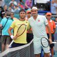 Roger Federer a eu du mal à se défaire du Moldave Radu Albot, le 23 mars 2019, pour son entrée en lice dans le Masters 1000 de Miami.
