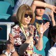 Anna Wintour a assisté à l'entrée en lice de Roger Federer dans le Masters 1000 de Miami, le 23 mars 2019, au Hard Rock Stadium.