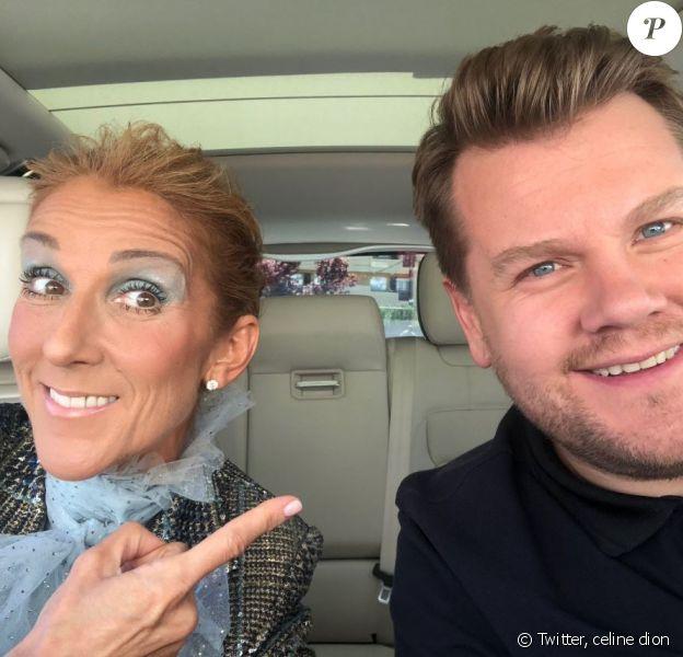 Céline Dion et James Corden ont partagé cette photo d'eux pour le Carpool Karaoke, le 22 mars 2019