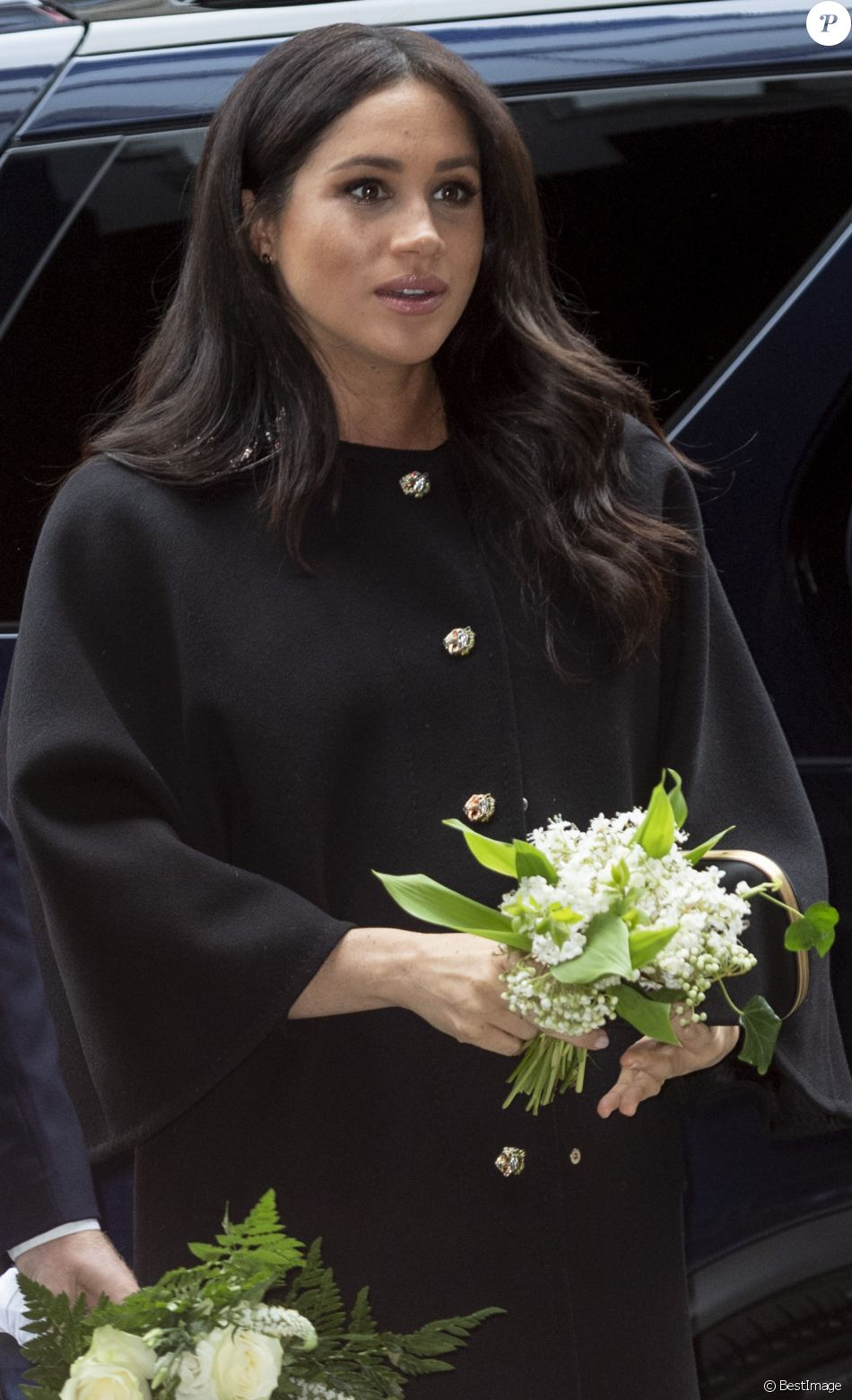 Meghan Markle, duchesse de Sussex lors de la signature du livre des condoléances à New Zealand House à Londres en hommage aux victimes de la tuerie de Christchurch. Londres, le 19 mars 2019.
