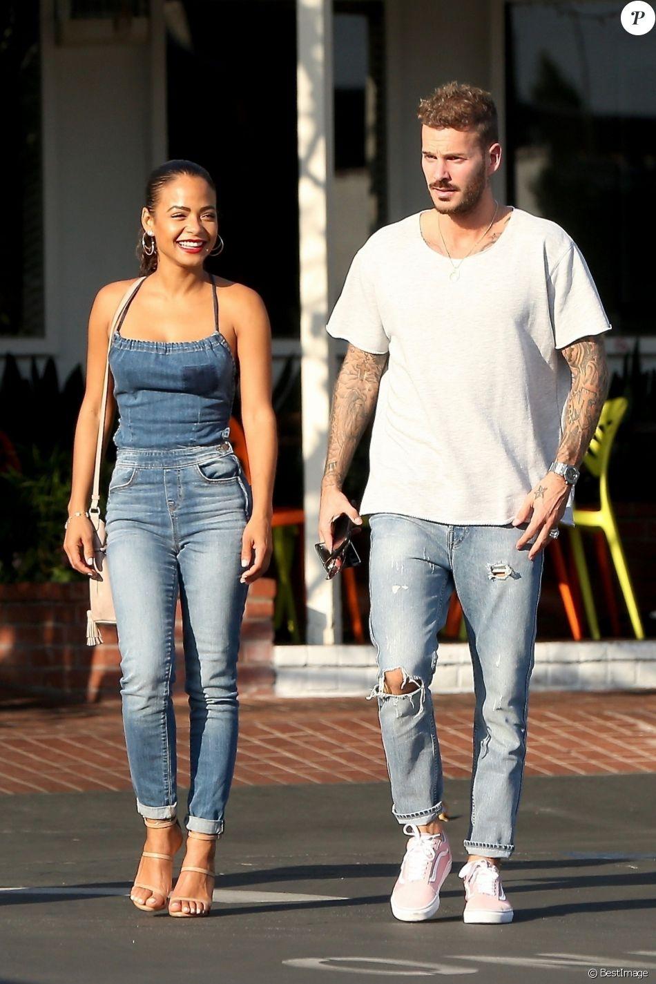 Matt Pokora et sa compagne Christina Milian sont allés déjeuner en amoureux au restaurant Mauro à coté de Fred Segal à West Hollywood. Le 25 octobre 2018.