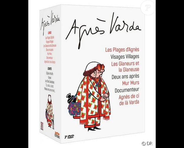 Le coffret vidéo Agnès Varda, avec le dessin qui a été reproduit sur les badges portés par les invités de son hommage à la Cinémathèque française le 2 avril 2019
