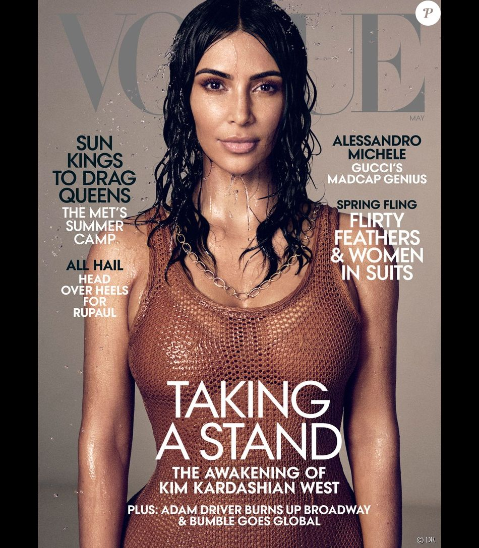 Kim Kardashian en couverture du magazine Vogue de mai 2019. Photo par Mikael Jansson.