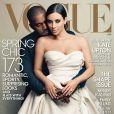 Kim Kardashian et Kanye West, photographiés par Annie Leibovitz pour le magazine Vogue. Avril 2014.