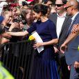 Meghan Markle, duchesse de Sussex (enceinte) lors d'un bain de foule à Rotorua, en Nouvelle-Zélande, le 31 octobre 2018.