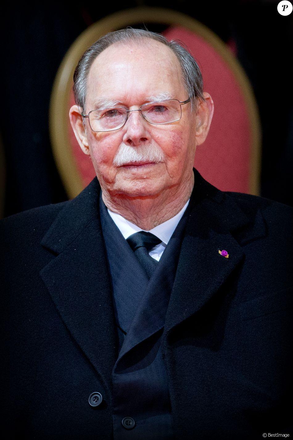 Le grand-duc Jean de Luxembourg le 12 décembre 2014 aux obsèques de la reine Fabiola de Belgique. Le grand-duc est mort dans la nuit du 22 au 23 avril 2019 à l'âge de 98 ans.