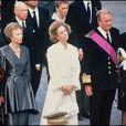 Le grand-duc Jean de Luxembourg et sa femme Joséphine-Charlotte en 1993 lors des funérailles du roi Baudouin de Belgique. Le grand-duc Jean est mort dans la nuit du 22 au 23 avril 2019 à l'âge de 98 ans.