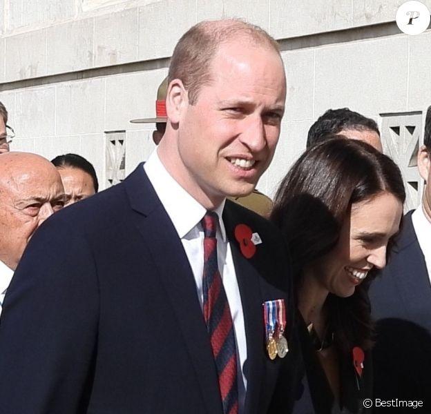Le prince William a assisté au côté du Premier ministre néo-zélandais au service commémoratif de l'Anzac Day à Auckland en Nouvelle-Zélande le 24 avril 2019.