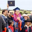 Exclusif - Arnold Schwarzenegger était présent pour son fils illégitime Joseph Baena, qui recevait son diplôme (en présence aussi de sa mère Mildred Patricia Baena, avec le chapeau blanc) de la Pepperdine University à Malibu, Los Angeles, le 27 avril 2019.